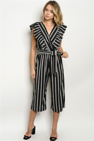 C4-A-1-J3029 BLACK WHITE STRIPES JUMPSUIT 2-2-1