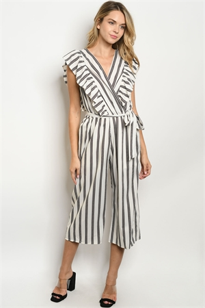 C4-A-1-J3029 IVORY BLACK STRIPES JUMPSUIT 4-2-1