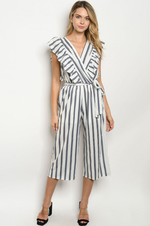 C11-A-3-J3029 IVORY NAVY STRIPES JUMPSUIT 3-2-1