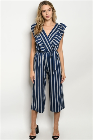 C4-A-1-J3029 NAVY IVORY STRIPES JUMPSUIT 4-2-1