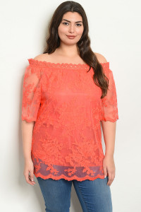 S10-19-1-T19005X CORAL EMBROIDERY PLUS SIZE TOP 3-2-2