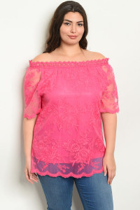 S10-19-1-T19005X FUCHSIA EMBROIDERY PLUS SIZE TOP 3-2-2