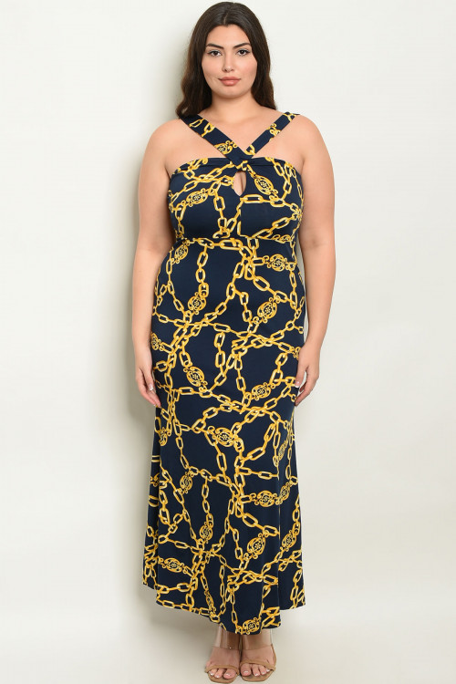 C19-A-1-D2038X NAVY YELLOW W/ CHAIN PLUS SIZE DRESS 2-3-3  ***WARNING: California Proposition 65***