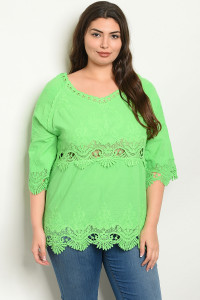 S23-5-4-T5066X GREEN PLUS SIZE TOP 2-2-2