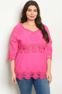 S10-11-5-T5066X FUCHSIA PLUS SIZE TOP 2-2-2