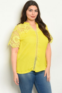 S21-9-6-T8023X YELLOW PLUS SIZE TOP 2-2-2