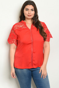 S18-5-4-T8023X RED PLUS SIZE TOP 2-2-2