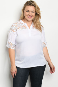 S15-7-3-T74372X WHITE PLUS SIZE TOP 3-1-2