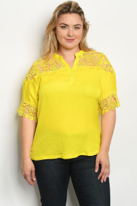 S15-7-3-T74372X YELLOW PLUS SIZE TOP 3-2-2