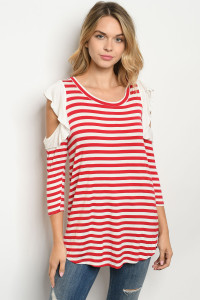 C74-B-5-T2529 IVORY RED STRIPES TOP 2-2-2