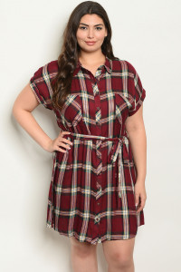 S15-8-3-D3567X BURGUNDY CHECKERS PLUS SIZE DRESS 2-2-2