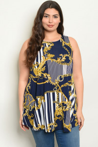 C92-A-2-D428X NAVY YELLOW PRINT PLUS SIZE TOP 1-2-2