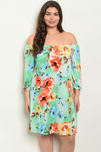 C94-A-5-D7491X MINT FLORAL PLUS SIZE DRESS 2-2-2
