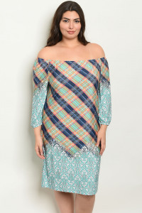 C94-A-5-D749X MINT CHECKERS PLUS SIZE DRESS 2-2-2
