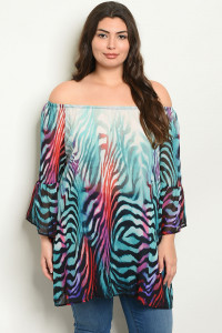 C67-A-2-T3005X AQUA MULTY PLUS SIZE TOP 2-2-2