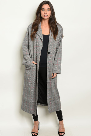 S16-3-3-C127063 GREY CHECKERS COAT 3-2-1