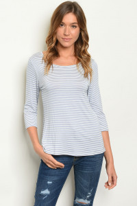 C34-B-2-T0958 BLUE STRIPES TOP 2-2-2