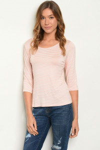 C34-B-2-T0958 PEACH STRIPES TOP 2-2-2