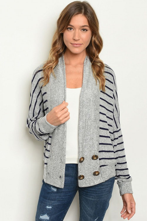 C13-B-3-T2654 GREY NAVY STRIPES CARDIGAN 2-2-2