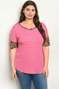 C27-A-2-T2204X FUCHSIA WHITE STRIPES PLUS SIZE TOP 2-2-2