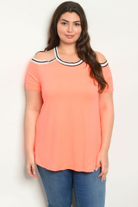 C29-B-4-T22181X NEON ORANGE PLUS SIZE TOP 2-2-2