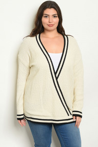 S24-3-3-S1163X CREAM BLACK PLUS SIZE SWEATER 3-3