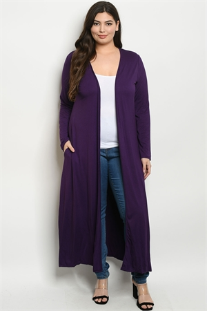 S23-1-3-C1163X PURPLE PLUS SIZE CARDIGAN 3-2-1
