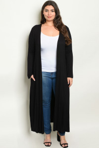 S16-5-3-C1163X BLACK PLUS SIZE CARDIGAN 3-2-1