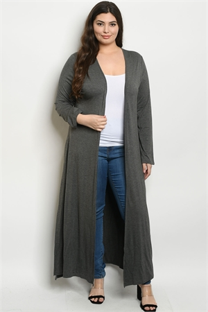 S16-11-3-C1163X GREY PLUS SIZE CARDIGAN 3-2-1