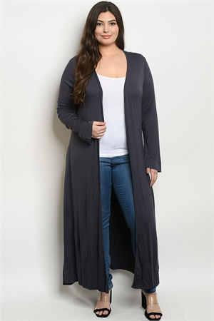 S18-12-3-C1163X CHARCOAL PLUS SIZE CARDIGAN 3-2-1