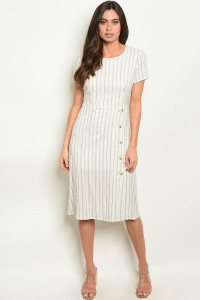 S6-8-2-D7022 IVORY GREY STRIPES DRESS 2-2-2