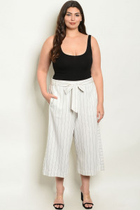 S15-4-3-P3064X OFF WHITE BROWN STRIPES PANTS 1-2-2-1