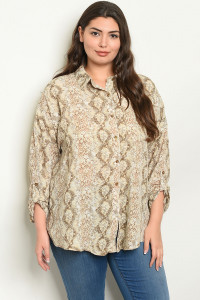 S14-6-5-T10152X TAUPE SNAKE PRINT TOP 1-2-2-1