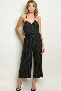 S10-10-3-J1744 BLACK STRIPES JUMPSUIT 3-2-1