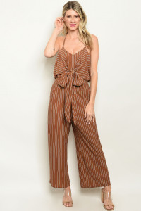 S9-10-4-J1744 CAMEL STRIPES JUMPSUIT 3-2-1