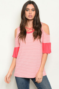 C55-B-5-T90469 CORAL STRIPES TOP 2-2-2
