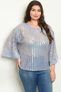 S11-2-1-T1233769X BLUE W/ SEQUINS PLUS SIZE TOP 2-2-2  ***WARNING: California Proposition 65***