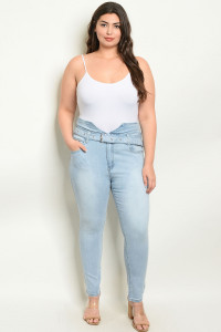 S11-4-1-P90267X BLUE DENIM PLUS SIZE PANTS 2-2-1