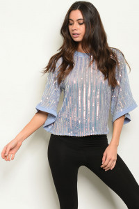 S3-8-1-T1233769 BLUE W/ SEQUINS TOP 1-2-2-1-1  ***WARNING: California Proposition 65***