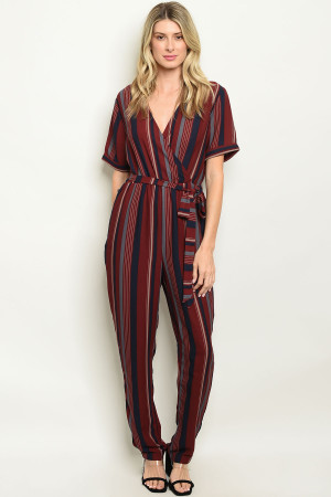S14-8-2-J50221 BURGUNDY STRIPES JUMPSUIT 3-2-3