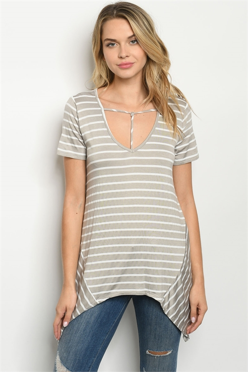 C14-A-2-T1666 TAUPE STRIPES TOP 2-2-2