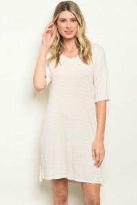 C18-A-7-D2002 IVORY STRIPES DRESS 2-2-2