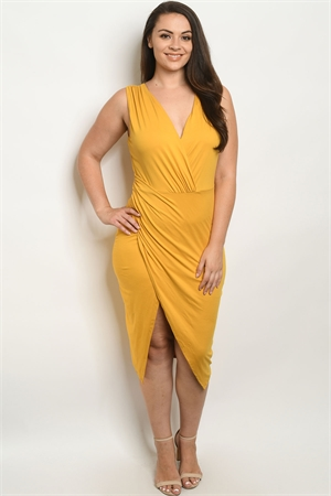 SA4-5-3-D7997X MUSTARD PLUS SIZE DRESS 2-2-2-2