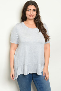 C86-A-6-T14659X GREY PLUS SIZE TOP 2-2-2