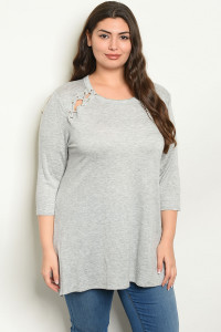 C88-A-2-T15551X GREY TOP PLUS SIZE TOP 2-2-2