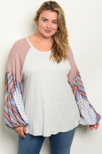 C101-A-1-T16285X GREY EARTH PLUS SIZE TOP 2-2