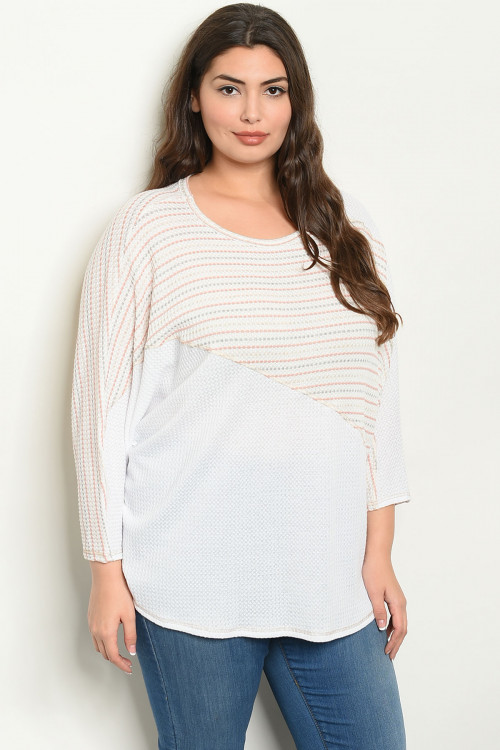 C101-A-1-T16697X WHITE IVORY PLUS SIZE TOP 1-2-2