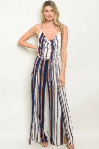S20-11-1-J5477 OFF WHITE NAVY STRIPES JUMPSUIT 3-2-1