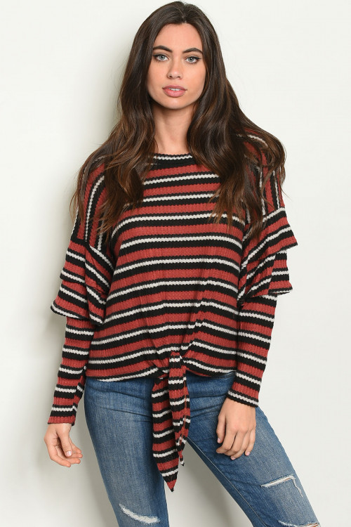 C10-B-7-T73302 BRICK BLACK STRIPES TOP 2-2-2