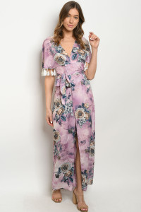 S9-2-2-D60586 LAVENDER W/ FLOWERS PRINT DRESS 2-2-2